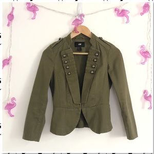 H&M Army Green Military Style Fitted Jacket Blazer